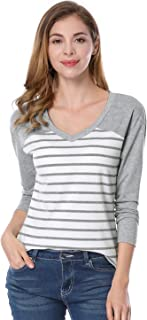 Allegra K Women's V Neck Color Block Drop Shoulder Striped T-Shirt Tops