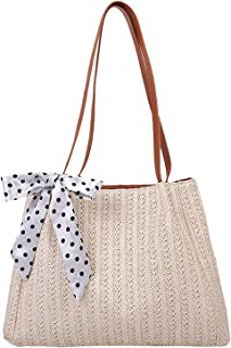 KOKOW Damen Schultertasche Stroh Weben Umhängetaschen Handtasche, Handgearbeitet Stroh Gestrickt Einkaufstasche Strandtasc...