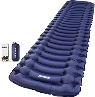 Equippt Ultralight Inflatable Sleeping Pad | Insulated Camping Tent Mattress Foldable Mat with Built-in Pump, Pillow and C...