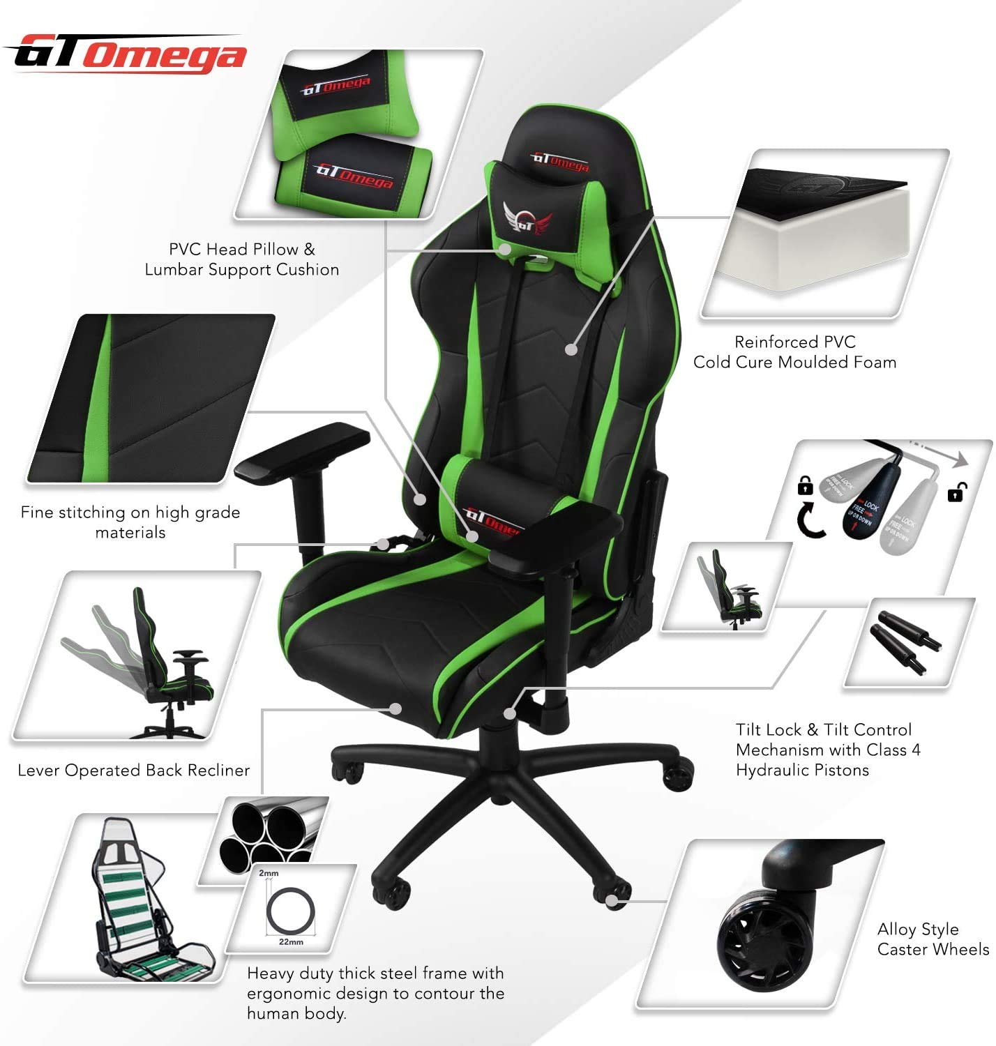 Amazon Com Gt Omega Pro Racing Gaming Chair With Ergonomic Lumbar Support Pvc Leather Reclining High Back Home Office Chair With Swivel Pc Gaming Desk Chair For Ultimate Racing Experience