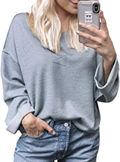 Simplee Women's V Neck Long Sleeve Loose Casual Blouses Baggy Tops T-Shirt