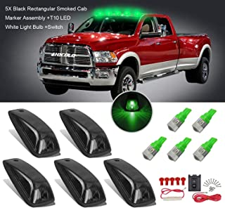 5x Black Smoked Cab Maker Green Light Assembly -HOCOLO Roof Running Light Cover Base +Green T10 LED Light Bulbs Replacement +Switch for 1988-2002 GMC Chevy C1500 C2500 C3500 K1500 K2500 K3500 Pickup