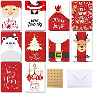 EOOUT 60pcs Christmas Greeting Cards Set, Holiday Cards with Envelopes and Thank You Stickers, 10 Assorted Xmas Designs for Holiday Greetings, Red