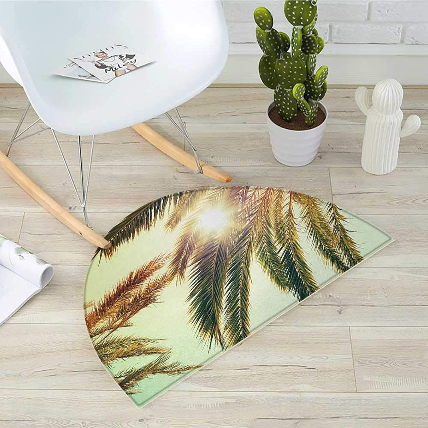 Palm Leaf Semicircle Doormat Beaming Sun Through Tree Branches Retro Effect Exotic Holiday Vacation Image Halfmoon doormats H 43.3  xD 64.9  Green orange