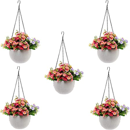 Go Hooked Plastic Hanging Pot, White, Pot Diameter-7.1 Inch, Pot Height-4.8 Inch, Pot Thickness-3 mm, Chain Length-13 inch approx., 5 Pieces