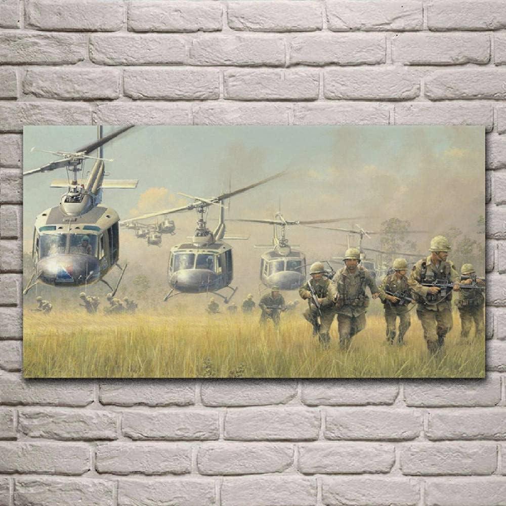 Mural 1 Piezas Pintura En Lienzo,1 Piezas Cuadros En Lienzos Soldados Guerra Aterrizando Helicópteros Caballería Bell Vietnam Uh Modular Moderna 1 Piezas,Mural Pared Salon 3D,Decor Pared