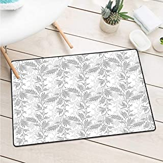 Wang Hai Chuan Grey Front Door mat Carpet Fancy Swirling Branch and Leave Patterns Antique Style Modern Decorative Luxury Print Home Door mat Floor Decoration W23.6 x L35.4 Inch Gray White