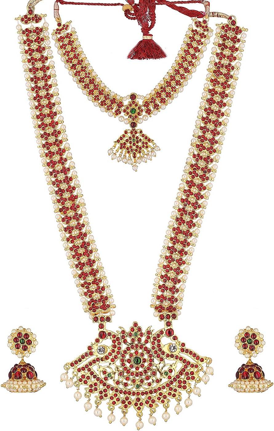 Fashionatelier Kempu Broad Mango Necklace and Haram Set