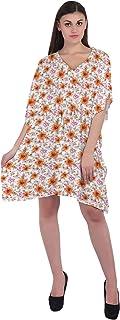 RADANYA Floral Women's Casual wear Cotton Kaftans Swimsuit Cover up Caftan Beach Short Dress