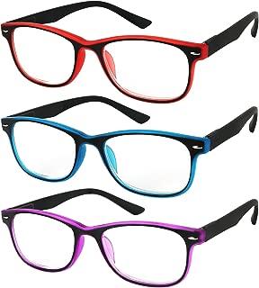 Reading Glasses Set of 3 Spring Hinge Comfort 3 Color Fashion Readers Glasses for Reading Men & Women