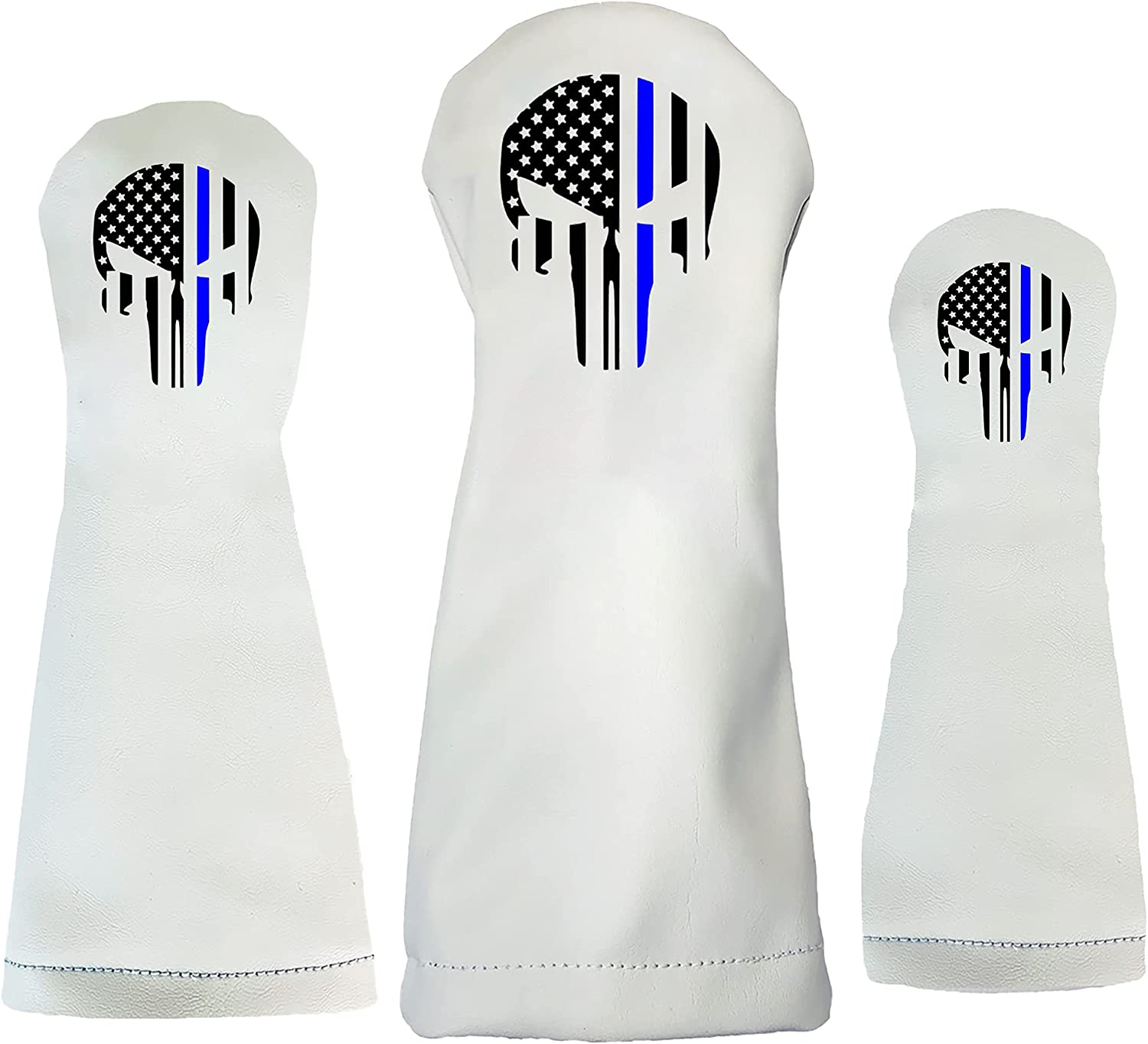 Sunfish Punisher Skull Blue Gifts Line Golf Leather Headcover Set safety Club