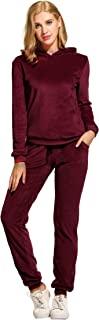 Hotouch Women's Solid Velour Sweatsuit Set Hoodie and Pants Sport Suits Tracksuits