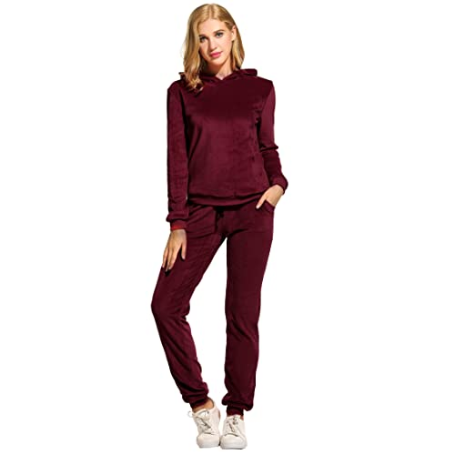 Hotouch Women s Solid Velour Sweatsuit Set Hoodie and Pants Sport Suits  Tracksuits 80813aa8f
