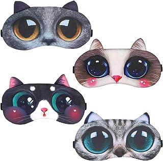 4 Piezas Antifaz para Dormir, CBGGQ Animales Dormir Máscara Niños Máscara para Dormir, Ajustable Encantador Animal Antifac...