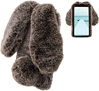 LCHDA Samsung Galaxy S7 Rabbit Case,Samsung Galaxy S7 Rabbit Fur Case Bunny Ear Phone Case For Girls Fuzzy Cute Warm Winter Soft Furry Fluffy Ball Fur Hair Plush Protective TPU Bumper Skin Cover-Brown