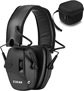 ZOHAN EM054 Electronic Shooting Earmuff, Professional Sound Amplification Noise Reduction Muff, Perfect for Shooting & Hunting - Black with Case