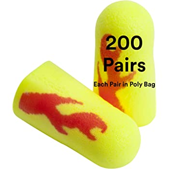 E-A-R by 3M 10080529120837 312-1256 Soft Yellow Neon Blasts E915ER1 Disposable Uncorded Earplugs Pack of 200 One Size Fits All