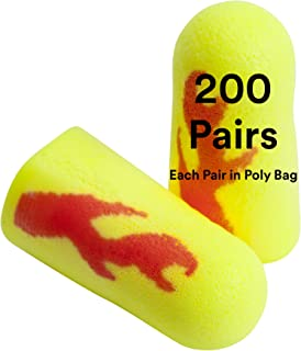 3M Ear Plugs, 200 Pairs/Box, E-A-Rsoft Yellow Neon Blasts 312-1252, Uncorded, Disposable, Foam, NRR 33, Drilling, Grinding, Machining, Sawing, Sanding, Welding, 1 Pair/Poly Bag