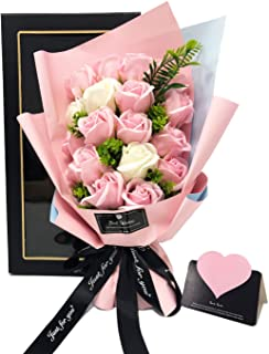 ソープフラワー プレゼント 母の日 バレンタインデー 誕生日 Kiranic 造花 ブーケ 枯れない花 石鹸花 記念日 開店祝い 結婚祝い お見舞い 敬老の日 ギフト ボックス ピンクバラ メッセージカード付き