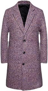 Macondoo Men Loose Mid Length Woollens Stripe Coat Single Breasted Notched Lapel Outwear