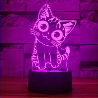 Cherish tea Cat 3D LED Night Light,3D Optical Illusion Visual Lamp 7 Colors Gradual Smart Touch Desk Lamp As a Gift for Kids,Baby,Boys or Girls(Smiley Cat)