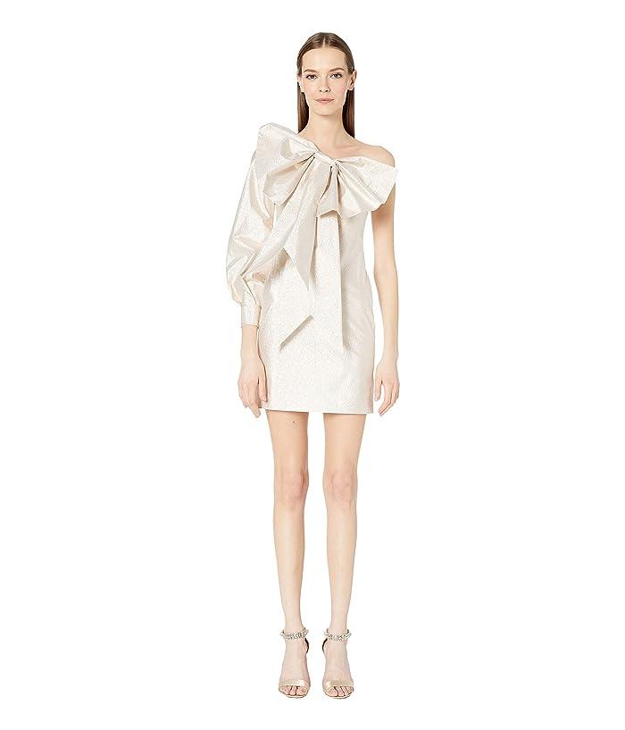 Boutique Moschino Bow Front Asymmetrical Neckline Sheath Dress (Pale Gold) Women