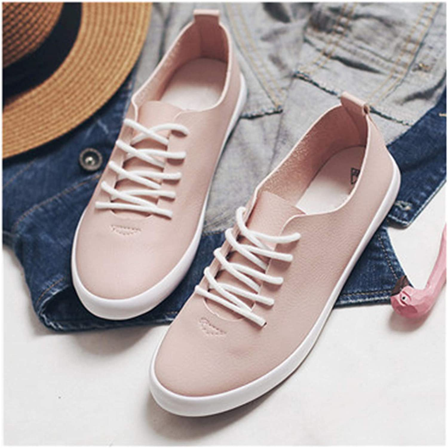Carolyn Jones New Women Pink Sneakers Female White shoes Lace Up Flat Heel All Match Must Have Lady Flats