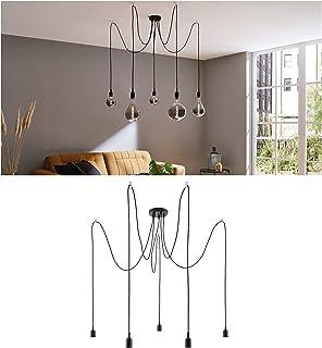 Paulmann 50389 luminaire en suspension Neordic Ketil 5 Flammes araignée max. 5x20watts lampe suspendue Noir éclairage de ...