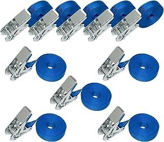 AmazonBasics – Spanngurte mit Ratschenschloss, 6 m lang, 25 mm breit, Belastbarkeit 800 kg, entspricht DIN EN 12195-2, Blau, 10 Stück