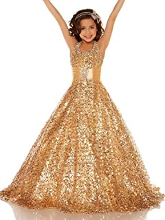 Sequin Pageant Dresses for Girls 7-16 Formal Birthday Bridesmaid Dress