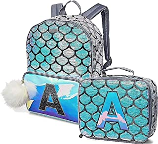 Girls Mermaid School Backpack/Lunch Tote Initial Letter (Letter H)
