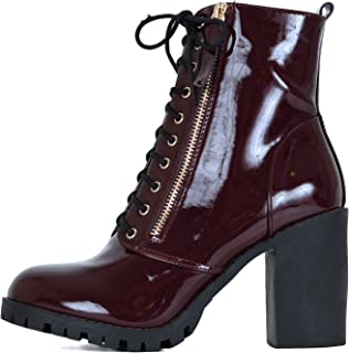 Guilty Heart Womens Platform Stacked Block Heel Ankle Bootie - Vegan Comfortable Lace Up Combat Boots