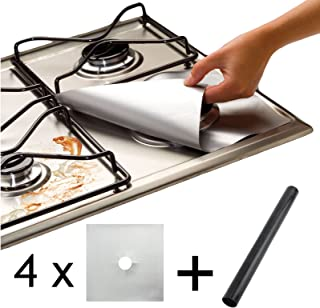 Spares2go Universal Heavy Duty Oven Liner & Gas Hob Protector Sheets (Pack Of 4 Silver Sheets + 1 x Liner)
