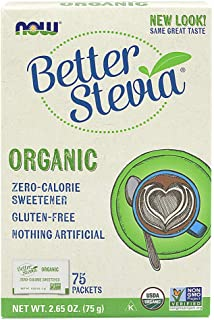Now Better Stevia Organic Sweetener, 75 Count