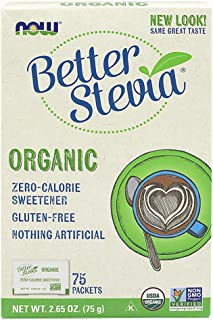 NOW Foods, Certified Organic Better Stevia, Zero-Calorie Sweetener, Gluten-Free, Certified Non-GMO, 75 Packets