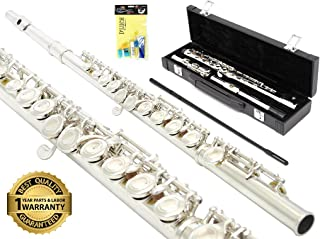 D'Luca 400N 400 Series Plated 16 Closed Hole C Flute with Offset G and Split E Mechanism, Case Kit, Nickel