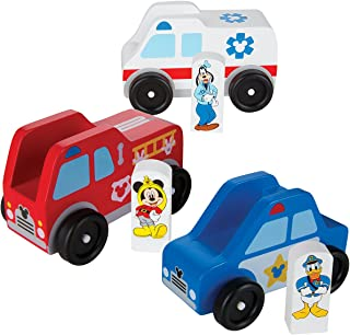 Melissa & Doug Mickey Mouse Wooden Rescue Vehicles Play Set With 3 Vehicles and 3 Play Figures
