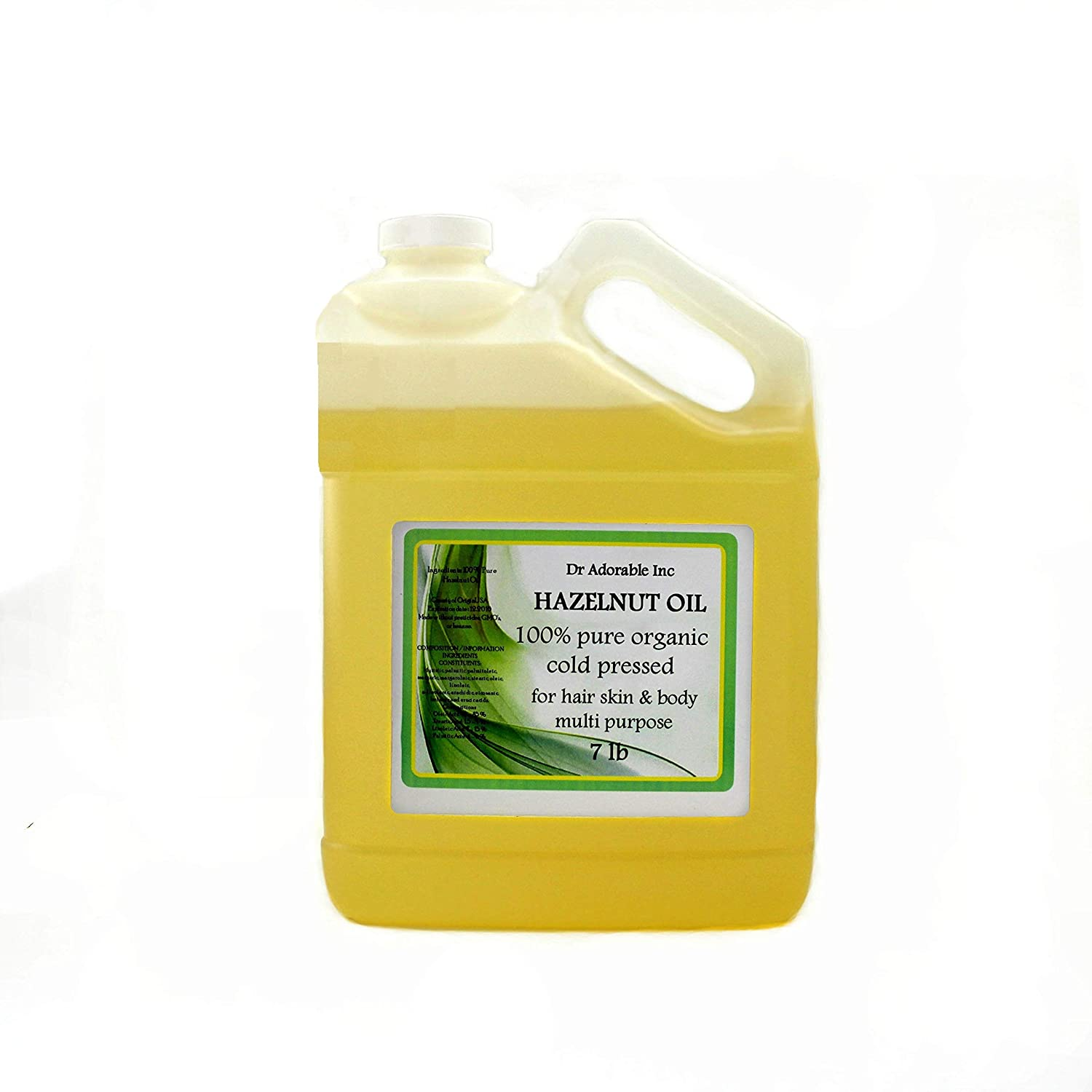 7 LB Hazelnut Oil Outstanding Organic by Dr.Adorable Same day shipping Pure Expeller Pressed