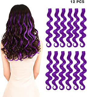 12 Pieces Party Highlights Clip in Colored Hair Extensions for Kids Girls Colorful Hair Extensions 22 inches Curly Wavy Synthetic Hairpieces Multi-Colors Purple Hair