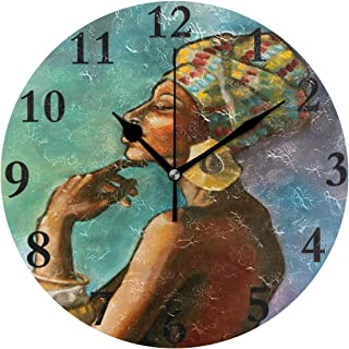 NMCEO Wall Clock African Princess Round Hanging Clock Acrylic Battery Operated Wall Clocks for Home Decor Creative