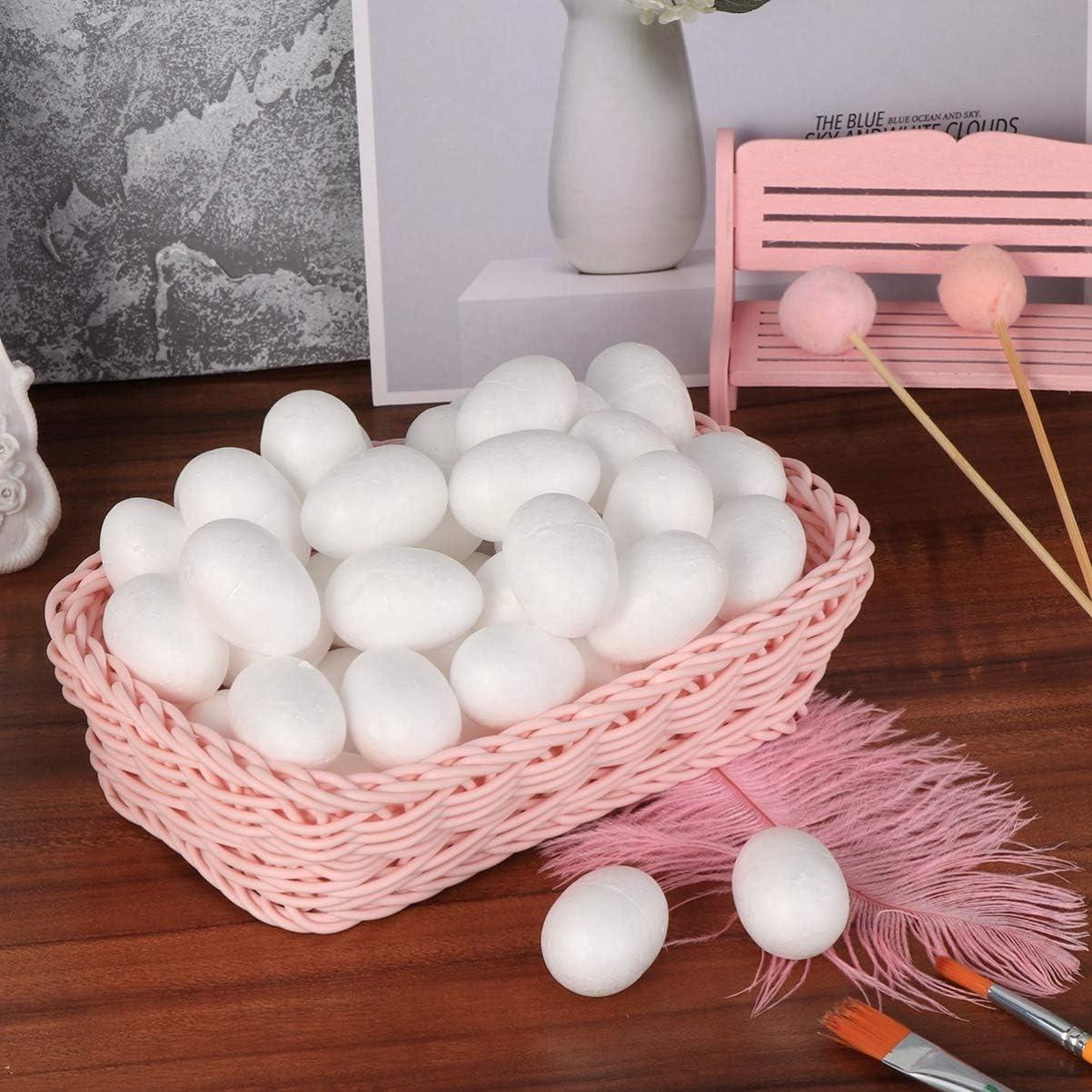 ABOOFAN 50 Piezas Huevo de Espuma de Poliestireno Blanco Huevo de Espuma de Pascua Bola de Poliestireno Hecha a Mano para Pintura de Bricolaje Artesan/ía de Pascua Decoraciones de Fiesta