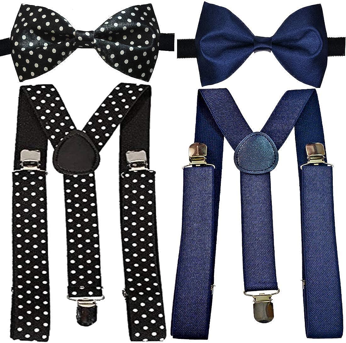 Kalagiri Y-Back Suspender Bow for Men (Black, Blue)