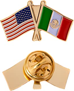 Mexico Country Double Flag Lapel Pin Enamel with United States USA US Souvenir Hat Men Women Patriotic Mexican (Double Flag Pin)