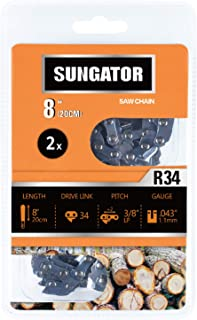 SUNGATOR 2-Pack 8 Inch Chainsaw Chain SG-R34, 3/8