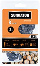 SUNGATOR 2-Pack 8 Inch Chainsaw Chain SG-R34, 3/8