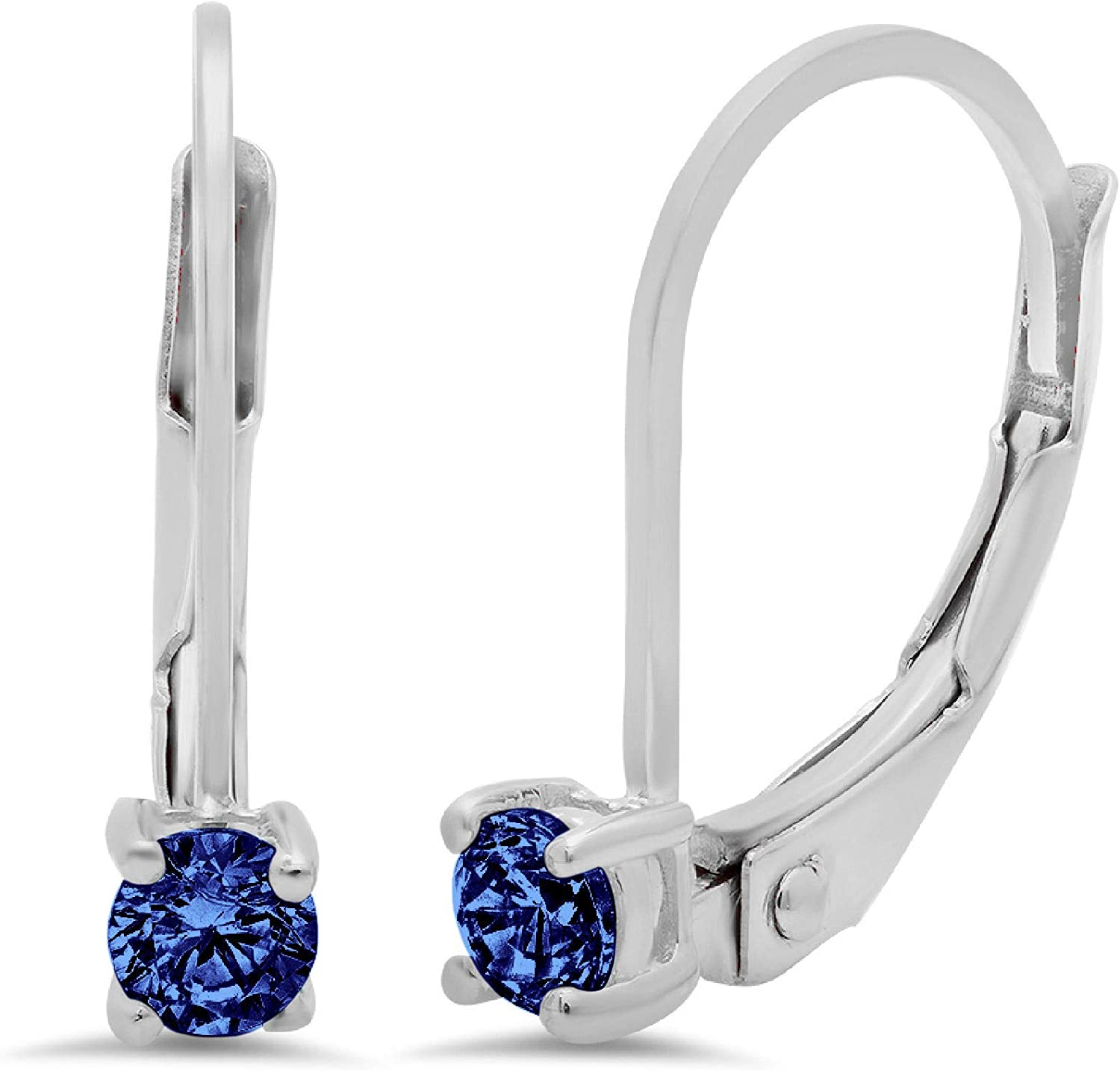 Clara Pucci 0.3 ct Brilliant Round Cut Solitaire Genuine Flawless Simulated Tanzanite Gemstone Pair of Lever back Drop Dangle Earrings Solid 18K White Gold