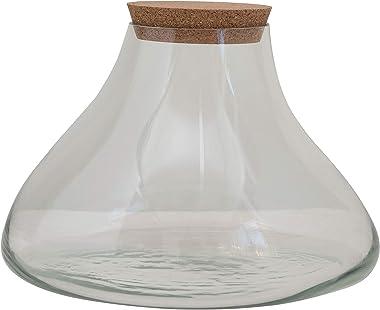Creative Co-op Glass Terranium/Jar with Cork Lid Terrarium, Clear