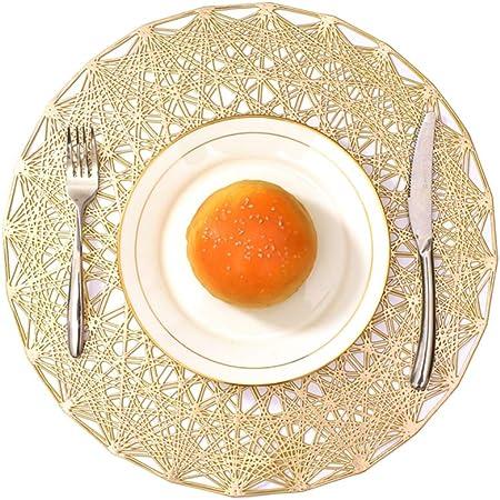 Amazon Com Jutao Placemats 6 Pcs Round Table Mats Pvc Pressed Vinyl Metallic Place Mats Non Slip Heat Proof Placemats For Kitchen Table Golden Home Kitchen