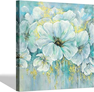 Abstract Flower Picture Wall Art - White Bouquet Artwork Floral Painting Reproduction Print on Canvas for Dining Room (28'' x 28'' x 1 Panel)
