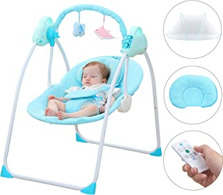 CBBAY Baby Swing Chair Electric Cradle Automatic Bassinet Baby Basket Bed Newborn Crib Rocking Music Sleeping (Blue)